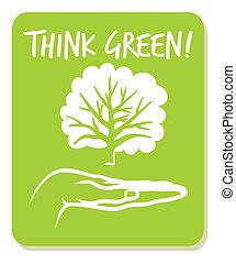 pensare, verde, etichetta