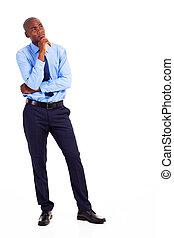 pensativo, americano africano, hombre de negocios