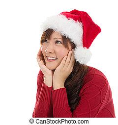 pensativo, asiático, navidad, mujer