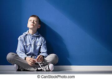 pensativo, autistic, menino