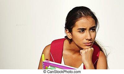 pensativo, bastante, estudiante femenino
