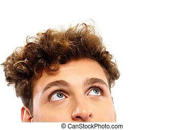 pensativo, copyspace, cima, olhar, closeup, retrato, homem