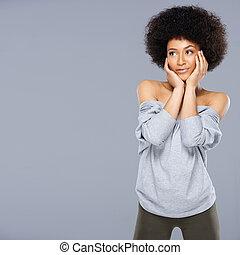pensativo, excitado, bonito, mulher americana africana