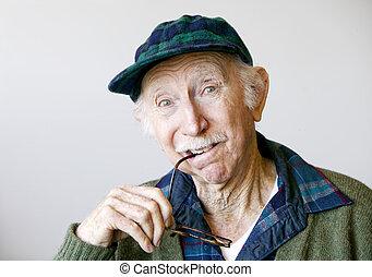pensativo, homem, chapéu, sênior, óculos