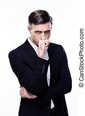 pensativo, isolado, fundo, homem negócios, retrato, branca