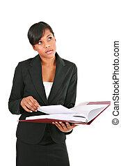 pensativo, joven, americano africano, mujer de negocios, aislado