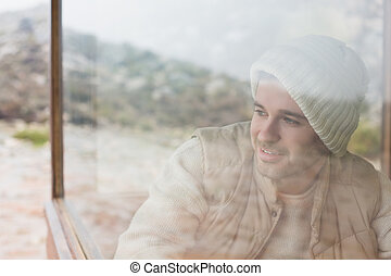 pensativo, Mirar, ventana, por, hombre, afuera