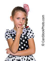 pensativo, moda, menina jovem