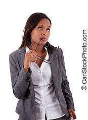 pensativo, mujer, corporación mercantil estadounidense, africano