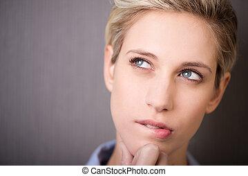 pensativo, mulher, expressão, atraente