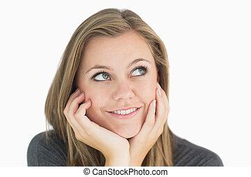pensativo, mulher sorri