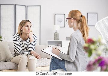 pensativo, sessão, tendo, psicólogo, mulher