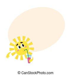 pensativo, sol, bebendo, coquetel, isolado, caricatura, vetorial, ilustração
