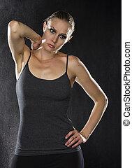 pensativo, sporty, mulher, com, passe, dela, pescoço