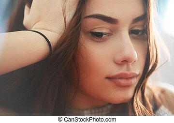 pensativo, triste, e, pensativo, mulher jovem