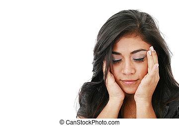 pensativo, y, preocupado, mujer, aislado, encima, un, fondo...