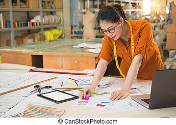 pense, dessin, comment, chinois, étudiant, conception