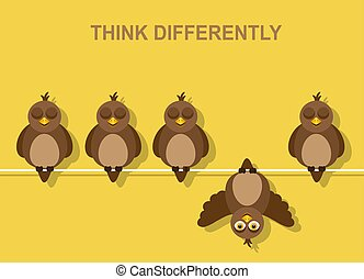 pense, oiseau, différemment