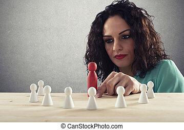 pense, sur, femme affaires, compagnie, stratégie, team., associez-vous guide