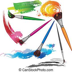 penseel, kleur, plonsen