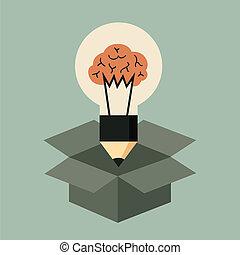 penser, concept, boîte, idée, dehors