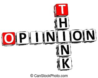 penser, mots croisés, opinion, 3d
