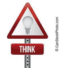 penser, signe rue, concept