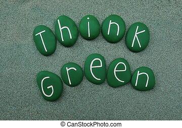 penser, vert, écologie, et, vert, énergie, concepts, texte, à, vert, coloré, pierres, sur, vert, sable