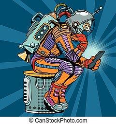 penseur, robot, lit, astronaute, retro, smartphone, pose