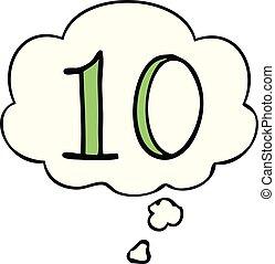 pensiero, 10, bolla, numero, cartone animato