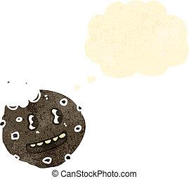pensiero, biscotto, bolla, retro, cartone animato