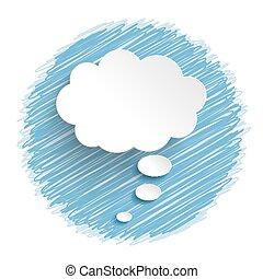 pensiero, blu, bianco, bolla, scarabocchio