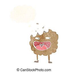 pensiero, carattere, bolla, cartone animato, biscotto