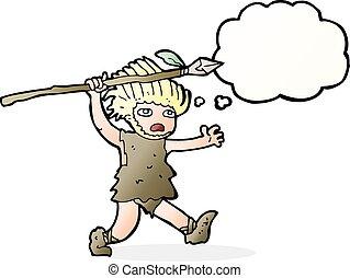 pensiero, caveman, bolla, cartone animato