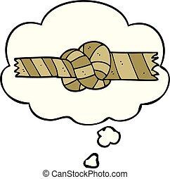 pensiero, corda, annodato, bolla, cartone animato
