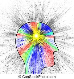 pensiero, esplosione, colorito, creatività, dolore, o