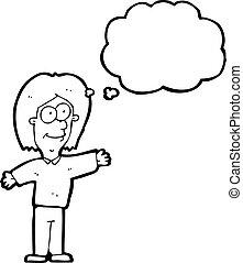 pensiero, persona, bolla, cartone animato