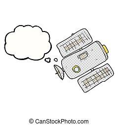 pensiero, stazione, bolla, cartone animato, spazio