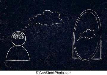 pensiero, suo, mente, gearwheel, dall'aspetto, persona, specchio, bolla