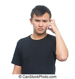 pensiero, testa, suo, espressione, isolato, ritaglio, giovane, pensieroso, proposta, asiatico, fondo, percorso, grattamento, ritratto, bianco, uomo