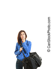 pensif, femme, à, sac voyage, aller, sur, voyage d'affaires
