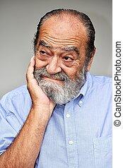pensif, mâle, personne agee, colombien