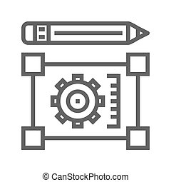 Pensil with blueprint line icon