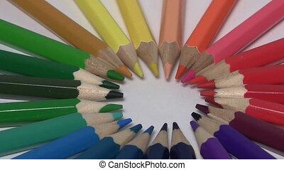 pensils, anneau, tourner, coloré, fin