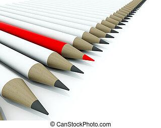 pensils, biały, odizolowany, hałas