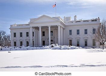 pensilvania, casa, washington, nieve, cc, bandera, ave, blanco