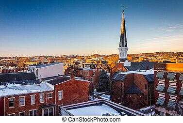pensilvania, garage., estacionamiento, vista, edificios, york
