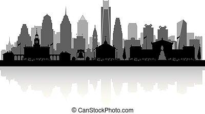 pensilvania, perfil de ciudad, silueta, filadelfia