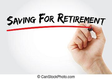 pensioen, besparing, hand het schrijven