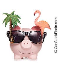 pensioen, besparing, knippen, piggy bank , uit